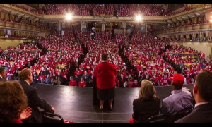 President Karen Lewis speaks to 18,000 supporters on Labor Day